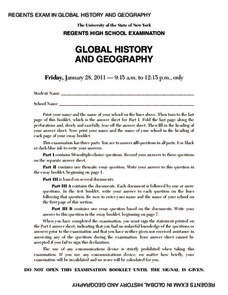 Global History and Geography Examination: January 2011 Assessment