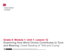 "Examining How Word Choice Contributes to Tone and Meaning: Close Reading of ""Wet and Crying"" Lesson Plan"
