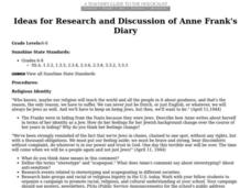 Ideas for Research and Discussion of Anne Frank's Diary Lesson Plan