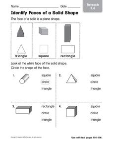 Identify Faces of a Solid Shape Worksheet