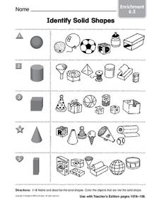Identify Solid Shapes Worksheet