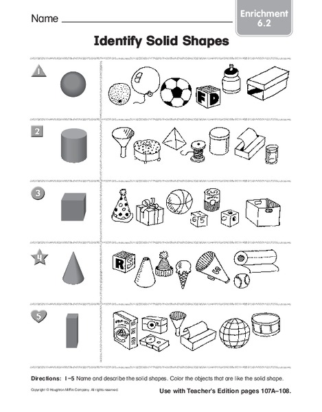 identify solid shapes worksheet for kindergarten 1st. Black Bedroom Furniture Sets. Home Design Ideas