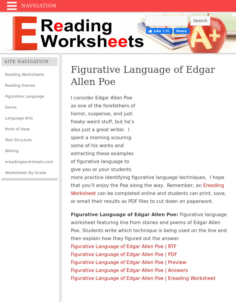 Figurative Language For Edgar Allen Poe Worksheet For 6th 12th Grade Lesson Planet Try our printable hyperbole worksheets comprising a chart, poem and constructive exercises to identify, learn and use exaggeration as a literary device. figurative language for edgar allen poe