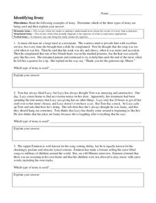 Identifying Irony 7th - 12th Grade Worksheet | Lesson Planet