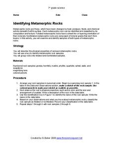 identifying metamorphic rocks worksheet for 7th grade lesson planet. Black Bedroom Furniture Sets. Home Design Ideas