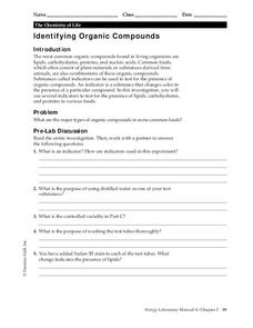 Identifying Organic Compounds Worksheet for 9th - 12th Grade ...