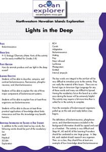 Lights in the Deep Lesson Plan