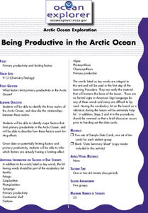Being Productive in the Arctic Ocean Lesson Plan
