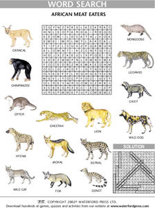 African Animals Word Search Lesson Plan