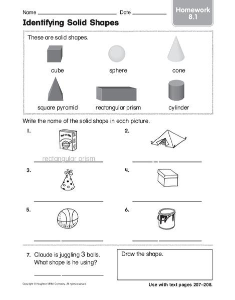 Identifying Solid Shapes Worksheet For Kindergarten 2nd