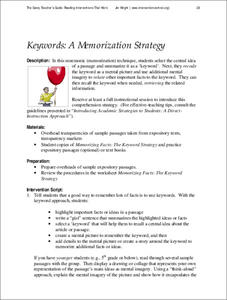 Keywords: A Memorization Strategy Lesson Plan
