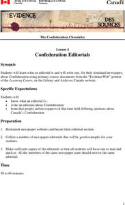 Confederation Editorials Lesson Plan