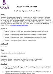 Freedom of Expression in Special Places Lesson Plan