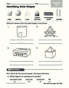 Identifying Solid Shapes Worksheet