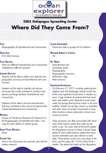 Where Did They Come From? Lesson Plan