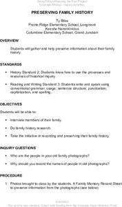 Preserving Family History Lesson Plan