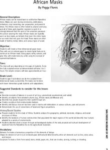African Masks Lesson Plan