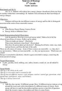 Sources of Energy Lesson Plan