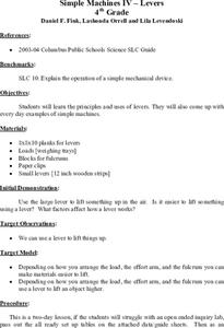 Simple Machines IV - Levers Lesson Plan