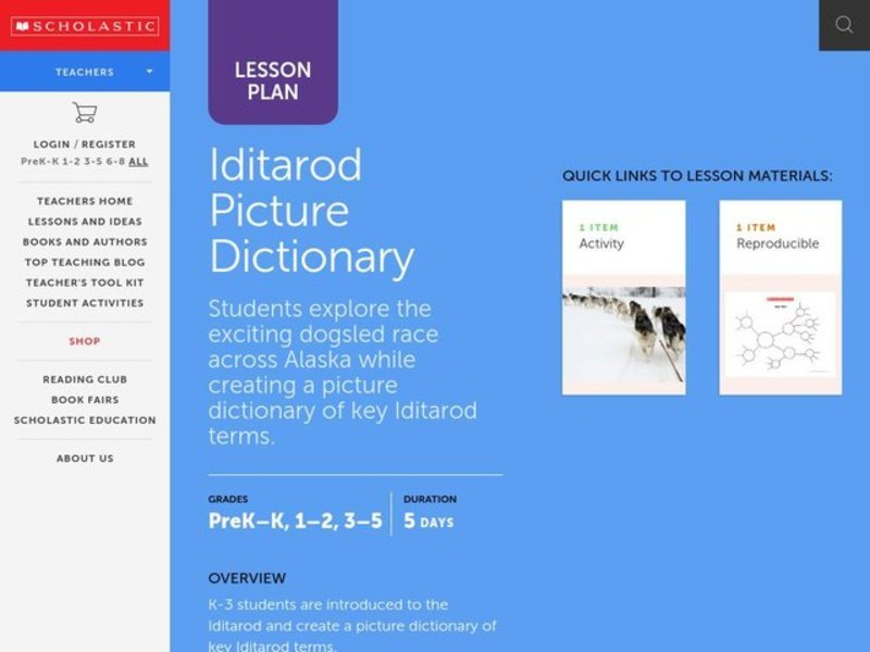 Iditarod Picture Dictionary Lesson Plan