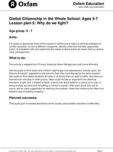 Global Citizenship in the Whole School: Why Do We Fight? Lesson Plan