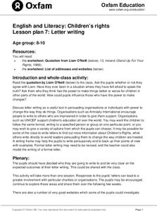 Letter Writing Lesson Plan