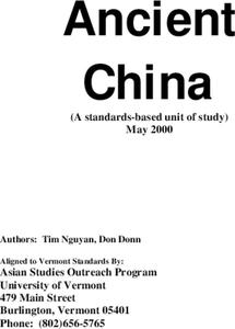 Ancient China Lesson Plan