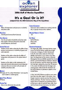 It's a Gas! Or is it? Lesson Plan