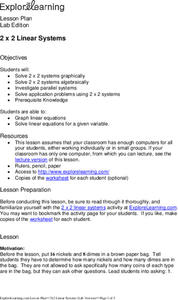 2 x 2 Linear Systems Lesson Plan