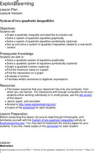 System of Two Quadratic Inequalities Lesson Plan