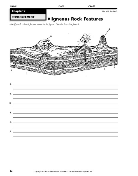 Igneous Rock Features Worksheet For 5th 8th Grade