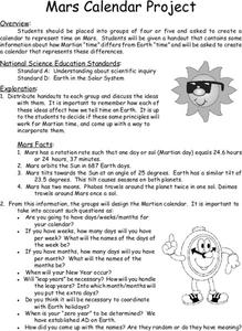 Mars Calendar Project Lesson Plan