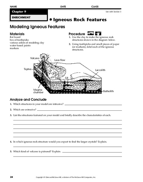 Igneous Rock Features Worksheet For 7th 12th Grade