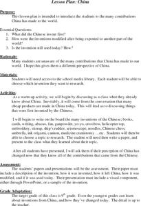 China Lesson Plan