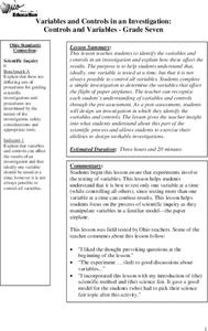 Controls and Variables Lesson Plan