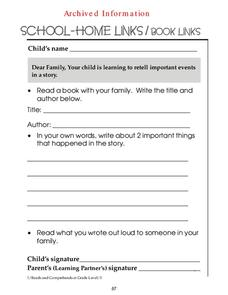 Important Events in a Story Worksheet
