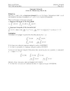 Improper Integrals Worksheet