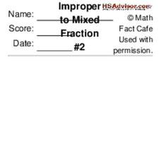 Improper to Mixed Fraction #2 Worksheet