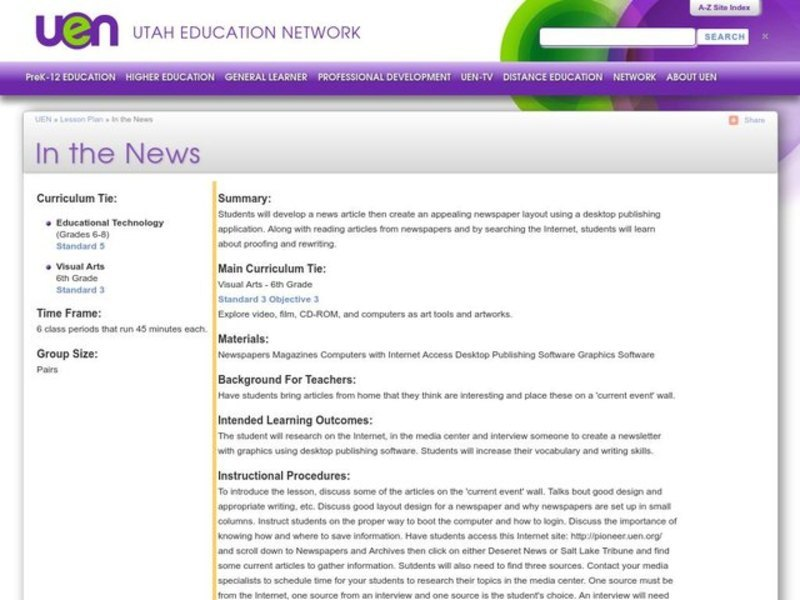 In the News Lesson Plan