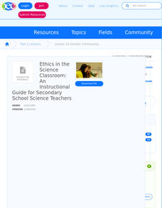 Incorporating Ethics in Classroom Science Lessons Lesson Plan