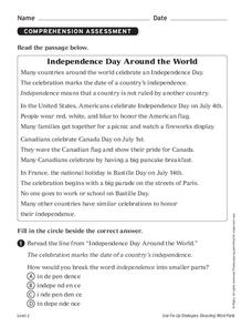 Independence Day Around the World Worksheet