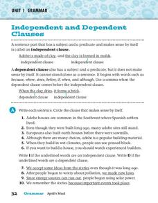 Independent and Dependent Clauses Worksheet