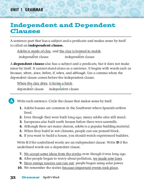 Independent And Dependent Clauses Worksheet For 3rd 5th