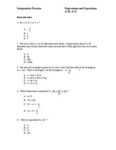 Independent Practice: Expressions and Operations Worksheet