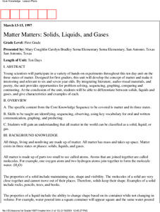 Matter Matters: Solids, Liquids and Gases Lesson Plan