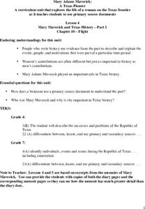 Mary Maverick and Texas History - Part 1 Lesson Plan