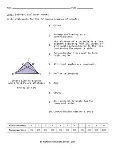 Indirect Euclidean Proofs Worksheet