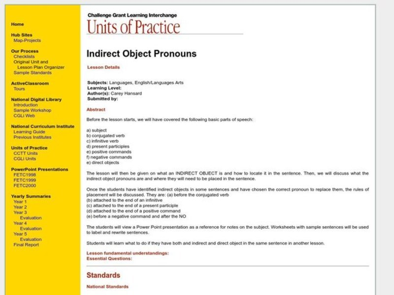 Indirect Object Pronouns Lesson Plan