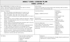 Health and Nutrition Lesson Plan