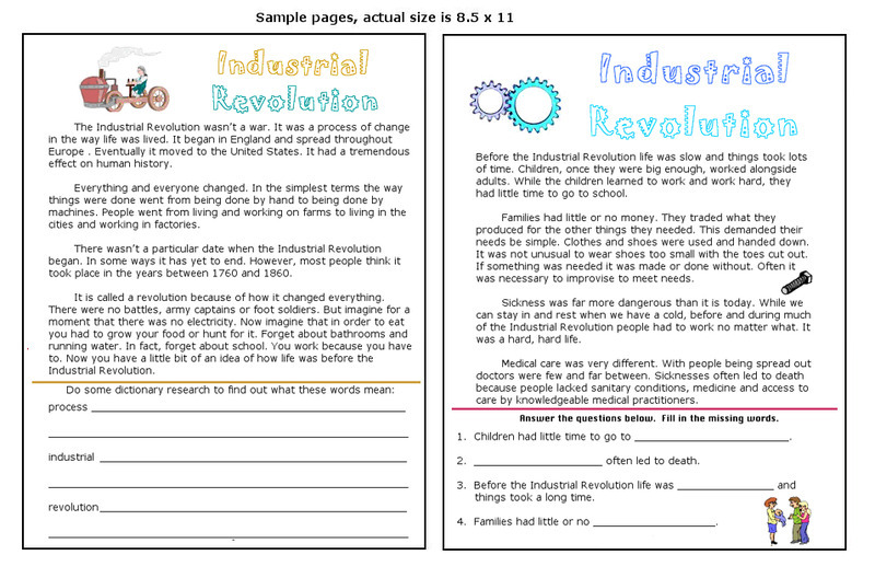 Industrial Revolution Worksheet For 3rd 5th Grade